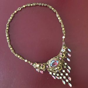 Vintage gold tone necklace with pink stones